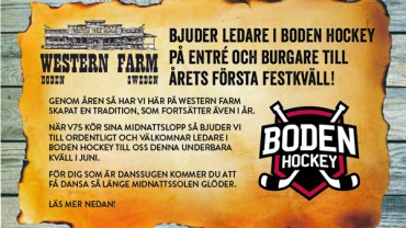 Boden Hockey bjuder ledare till årets första festkväll!