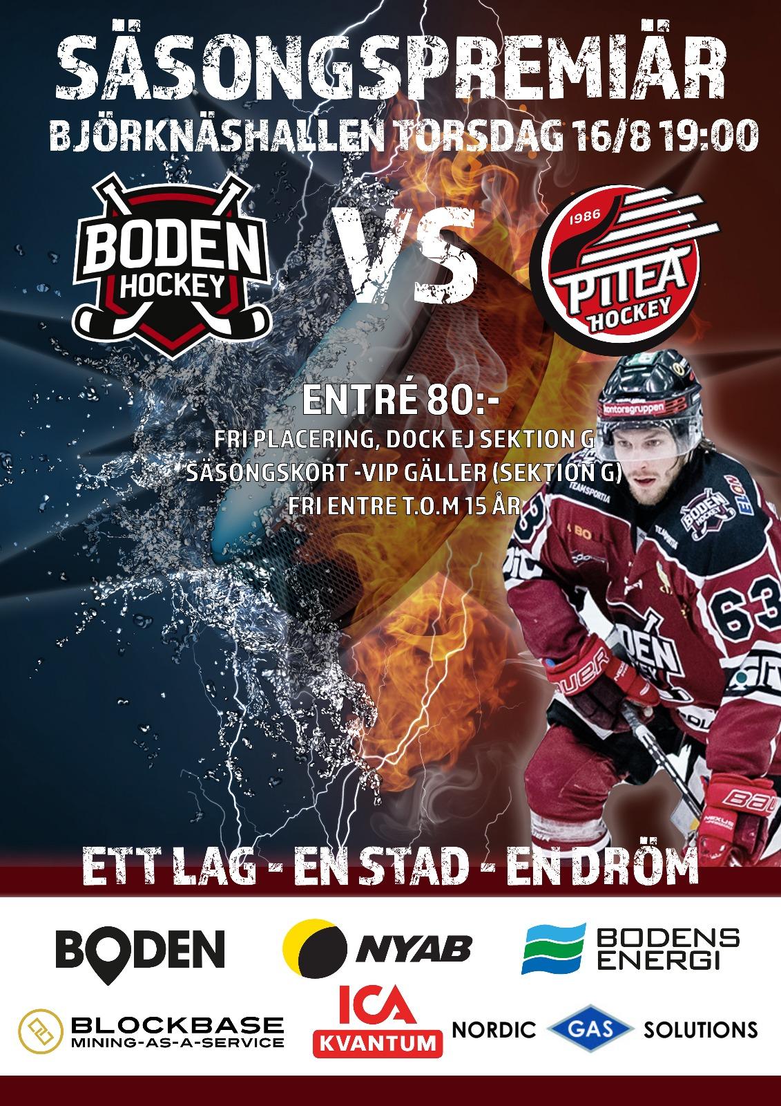 Första träningsmatchen Boden Hockey vs Piteå HC