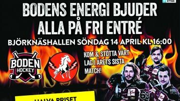 Sista matchen: Boden Hockey vs. HC Vita Hästen