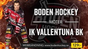 Webbsändning: Boden Hockey vs. IF Vallentuna BK